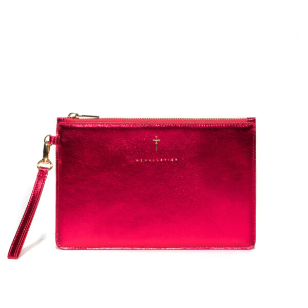 METALLIC PINK LEATHER POUCH